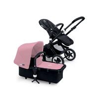 Pack poussette duo buffalo châssis et base noir avec capote et tablier rose pâle