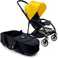 Poussette duo bee3 châssis noir capote jaune housse et nacelle noir