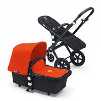 Pack poussette duo cameleon3+ châssis et base noir capote + tablier orange