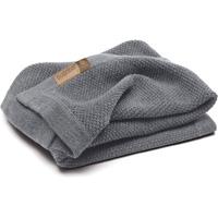 Couverture bébé en laine woolmark gris chiné