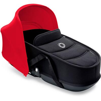 Nacelle bee3 avec habillage noir et capote rouge Bugaboo