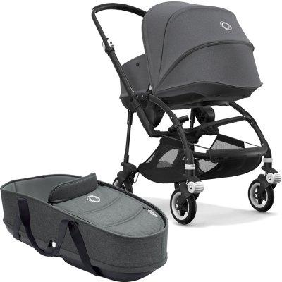 Pack poussette duo bee5 complète châssis noir + habillage et nacelle gris chiné Bugaboo
