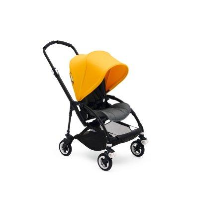 Poussette bee5 complète châssis noir habillage gris chiné et jaune Bugaboo
