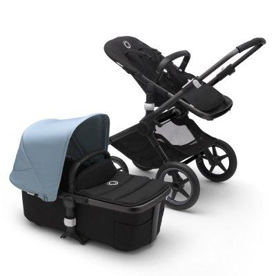 Pack poussette duo fox 2 complète châssis noir et habillages noir et bleu vapeur Bugaboo