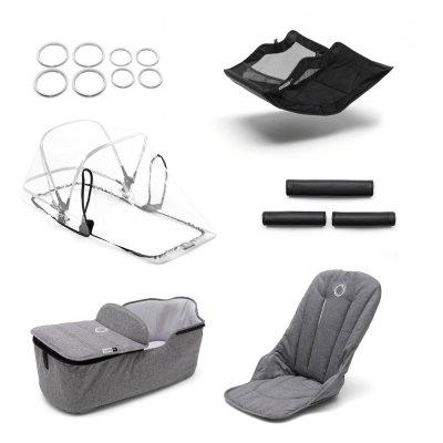 Pack poussette duo fox alu + style set et capote gris chiné Bugaboo