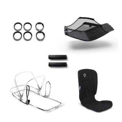 Poussette 4 roues bee5 châssis noir + style set noir et capote rose Bugaboo