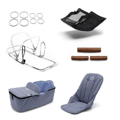 Pack poussette duo fox alu + style set et capote bleu chiné Bugaboo