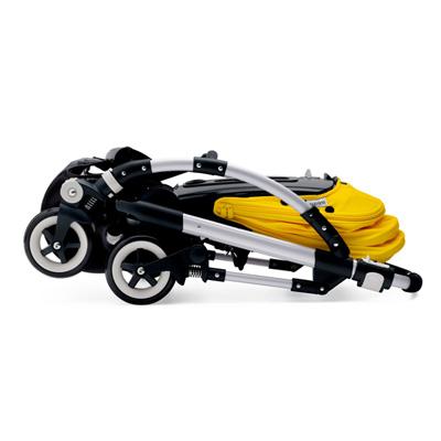 Poussette 4 roues bee3 châssis alu avec housse noir et capote jaune Bugaboo