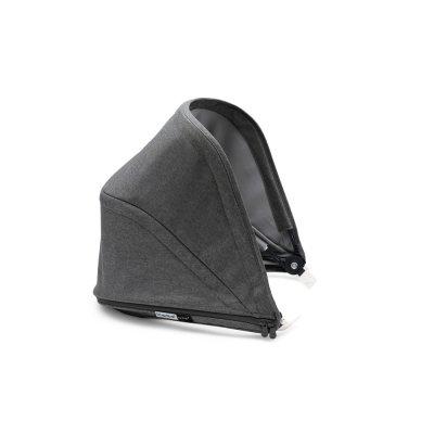 Poussette 4 roues bee5 complète châssis alu + housse noir + capote gris chiné + poignées noir Bugaboo