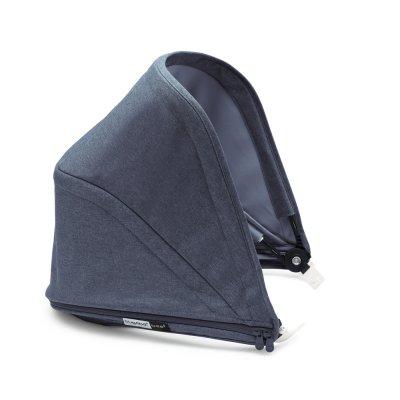 Poussette 4 roues bee5 châssis noir + style set noir et capote bleu chiné Bugaboo