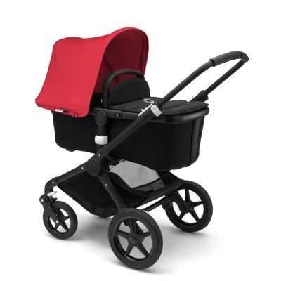 Pack poussette duo fox noir + capote rouge néon + habillages et poignées noir + enjoliveurs noir glossy Bugaboo