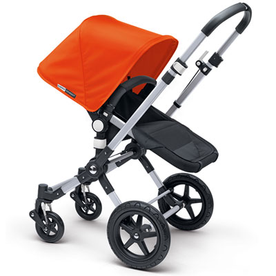Pack poussette duo cameleon3+ châssis alu base noir capote + tablier orange Bugaboo