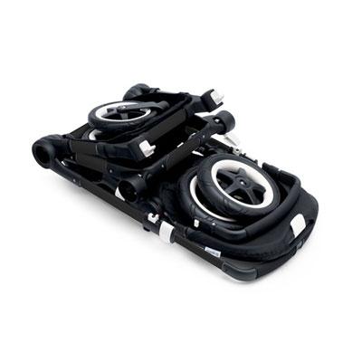 Pack poussette duo buffalo+ châssis et base noir capote + tablier blanc cassé Bugaboo