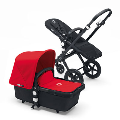 Pack poussette duo cameleon3+ châssis et base noir capote + tablier rouge Bugaboo