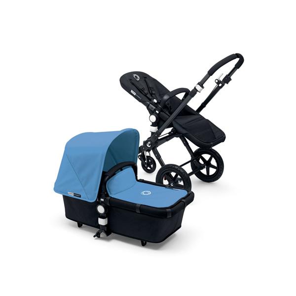 Poussette combiné duo cameleon3 châssis et base noir avec capote et tablier bleu glacier Bugaboo