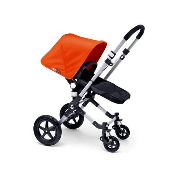 Poussette combiné duo cameleon3 châssis et base noir avec capote et tablier orange Bugaboo