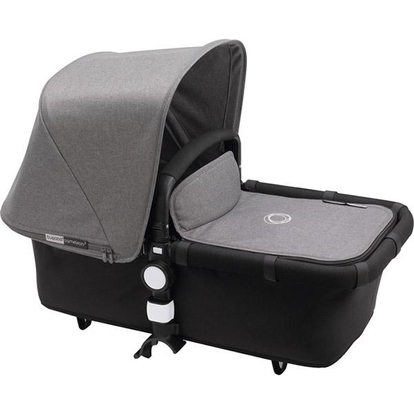 Poussette combiné duo cameleon3 châssis et base noir avec capote et tablier gris chiné Bugaboo