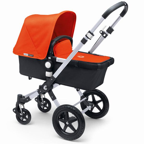 Poussette combiné duo cameleon3+ châssis alu base noir capote + tablier orange Bugaboo