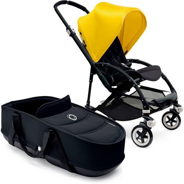 Poussette combiné duo bee3 châssis noir capote jaune housse et nacelle noir Bugaboo