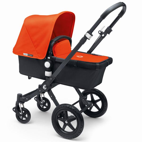 Poussette combiné duo cameleon3+ châssis et base noir capote + tablier orange Bugaboo