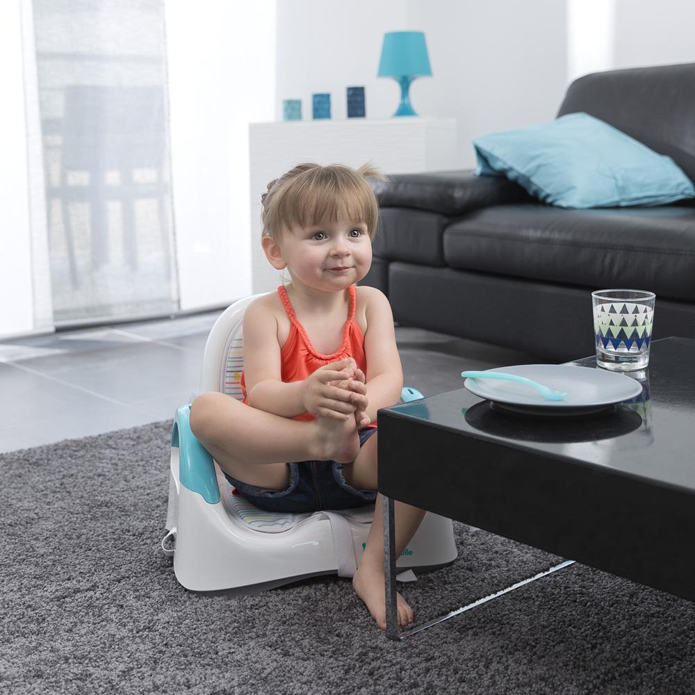 r hausseur de chaise confort bleu et gris de badabulle. Black Bedroom Furniture Sets. Home Design Ideas