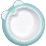 Assiette bébé antidérapante bleue pas cher