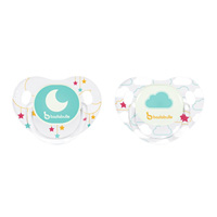 Lot de 2 sucettes siliconne phosphorescentes 6-12 mois moon dream