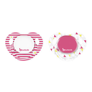 Lot de 2 sucettes silicone physio 6-12 mois girl marinière