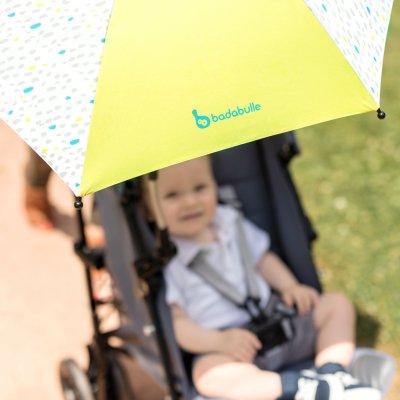Ombrelle poussette anti-uv jaune Badabulle