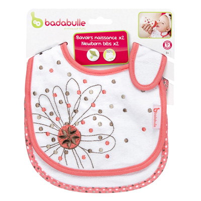 Badabulle Lot de 2 bavoirs naissance rosée gourmande 3
