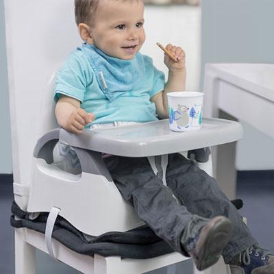 Réhausseur de chaise confort blanc et gris Badabulle
