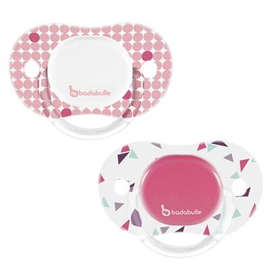 Lot de 2 sucettes silicone réversibles 6-12 mois confetti fille Badabulle