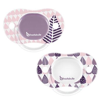 Badabulle Lot de 2 sucettes bébé silicone réversibles 6-12 mois pink trees fille