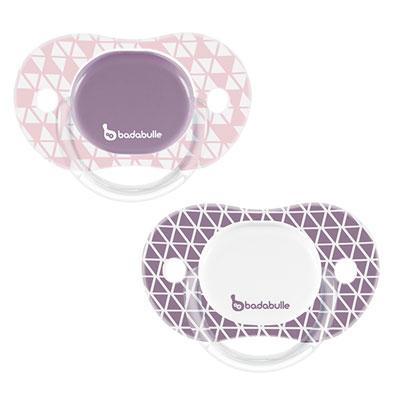 Lot de 2 sucettes silicone réversibles 12-36 mois graphic lines fille Badabulle