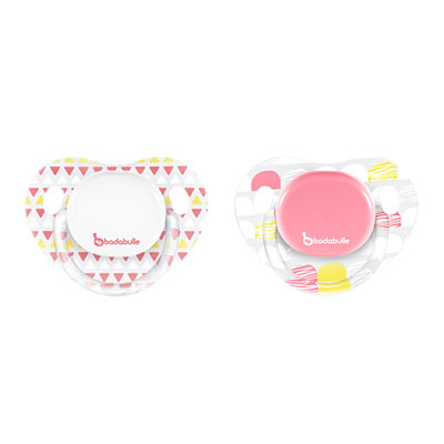 Lot de 2 sucettes silicone physio 0-6 mois girl drawing lines Badabulle
