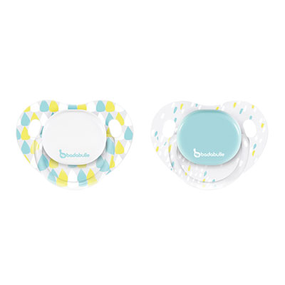Lot de 2 sucettes silicone physio 6-12 mois boy drops Badabulle