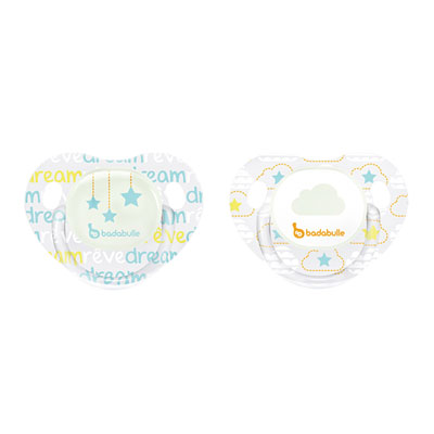 Lot de 2 sucettes siliconne phosphorescentes 0-6 mois cloud dream Badabulle