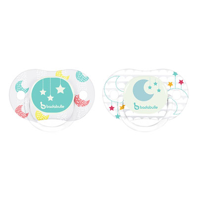 Lot de 2 sucettes siliconne réversible phospho 0-6 mois moon star Badabulle
