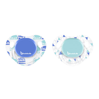 Lot de 2 sucettes silicone physio 12-36 mois boy have fun Badabulle