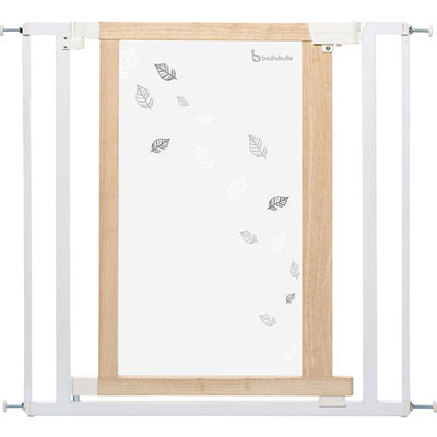 Barrière de sécurité easy close white leaves 74,5-82,5cm Badabulle