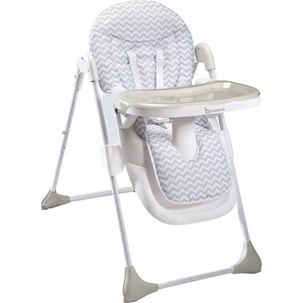 Chaise haute bébé easy white grey Badabulle