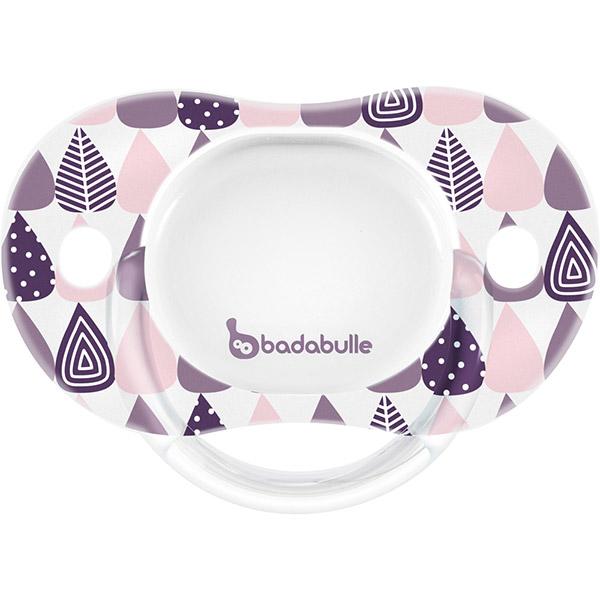 Lot de 2 sucettes silicone réversibles 6-12 mois pink trees fille Badabulle