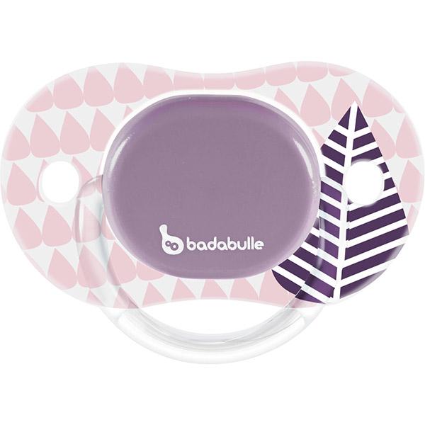 Lot de 2 sucettes bébé silicone réversibles 6-12 mois pink trees fille Badabulle