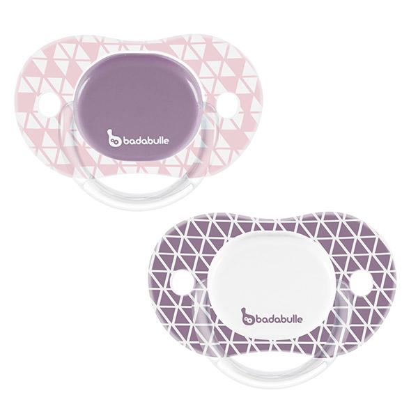 Lot de 2 sucettes bébé silicone réversibles 12-36 mois graphic lines fille Badabulle