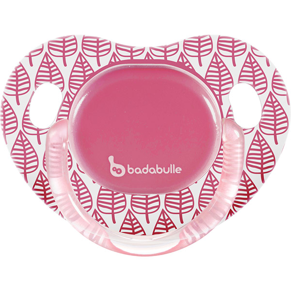 Lot de 2 sucettes silicone 6-12 mois spring leaves fille Badabulle