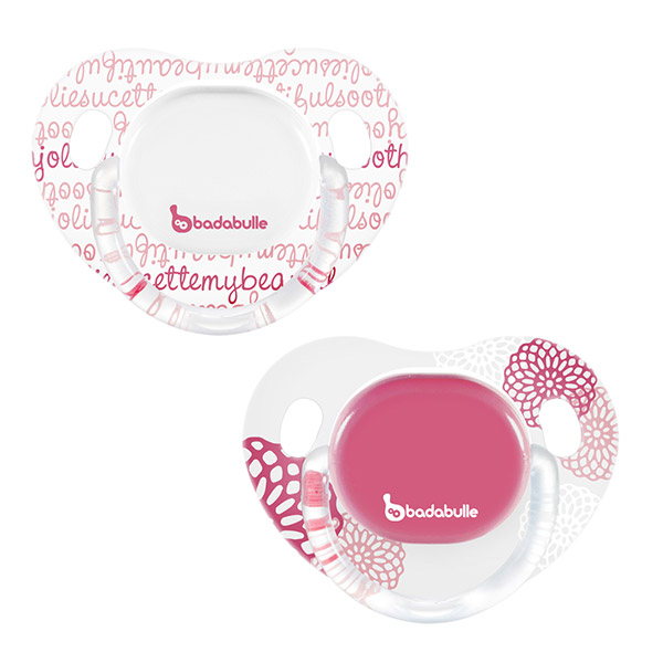 Lot de 2 sucettes silicone 12-36 mois spring poetic fille Badabulle