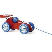Jouet d'éveil bébé voiture de course à trainer rouge-bleu