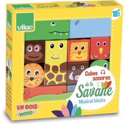 Jouet d'éveil bébé cubes sonores de la savane Vilac