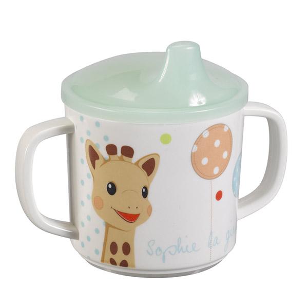 Coffret repas bébé mélaminé bleu sophie la girafe Vulli
