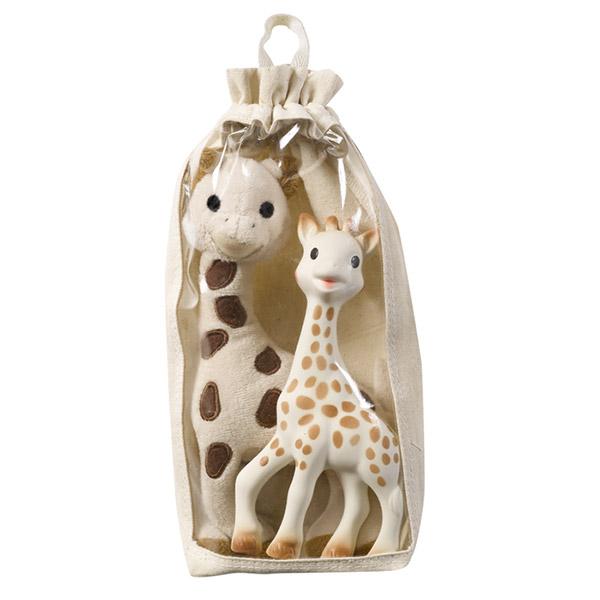 Set girafe peluche bébé + sophie la girafe Vulli